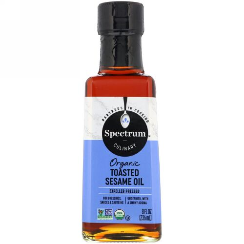 Spectrum Culinary, Organic Toasted Sesame Oil, Expeller Pressed, Unrefined, 8 fl oz (236 ml) (Discontinued Item)