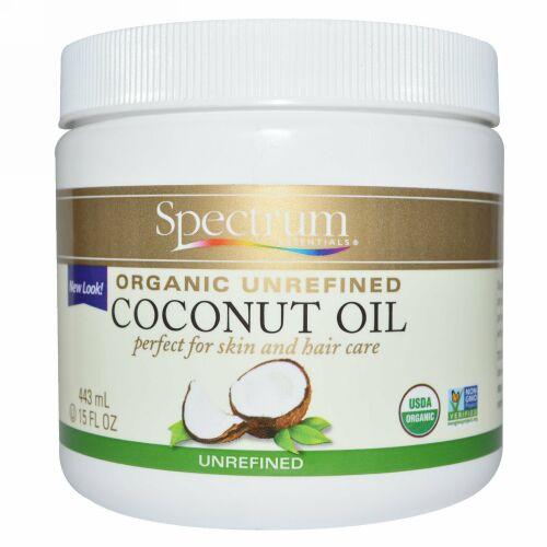 Spectrum Essentials, オーガニック, ココナッツオイル, 未精製, 15液量オンス (443 ml)