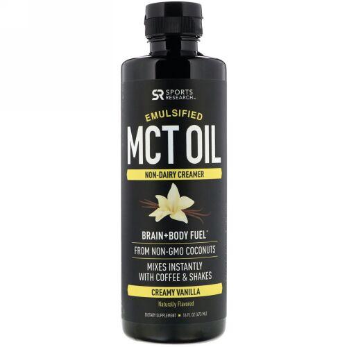 Sports Research, Emulsified MCT Oil, Creamy Vanilla, 16 fl oz (473 ml) (Discontinued Item)