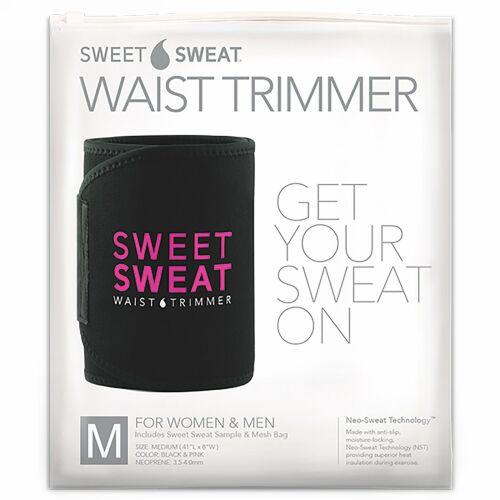 Sports Research, Sweet Sweat(スウィートスウェット)ウエストトリマー、ミディアム、ブラック&ピンク、ベルト1本