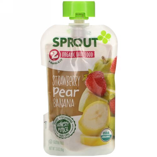 Sprout Organic, Baby Food, 6 Months & Up, Strawberry, Pear, Banana, 3.5 oz (99 g)