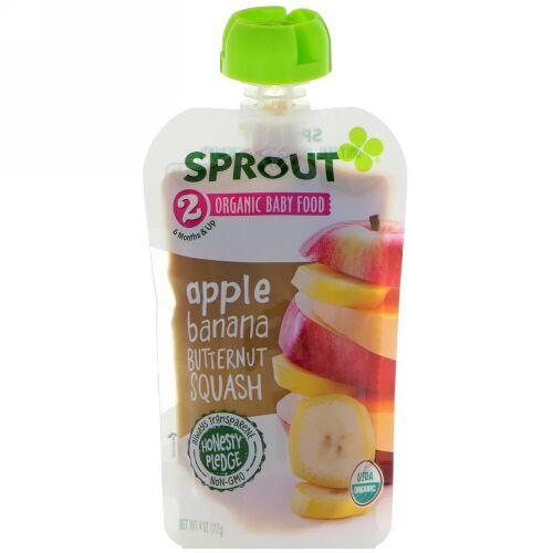 Sprout Organic, ベビーフード、ステージ2、アップル、バナナ、バターナットカボチャ、4 oz (113 g) (Discontinued Item)