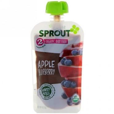 Sprout Organic, ベビーフード、ステージ2、アップル、ブルーベリー、4 oz (113 g) (Discontinued Item)