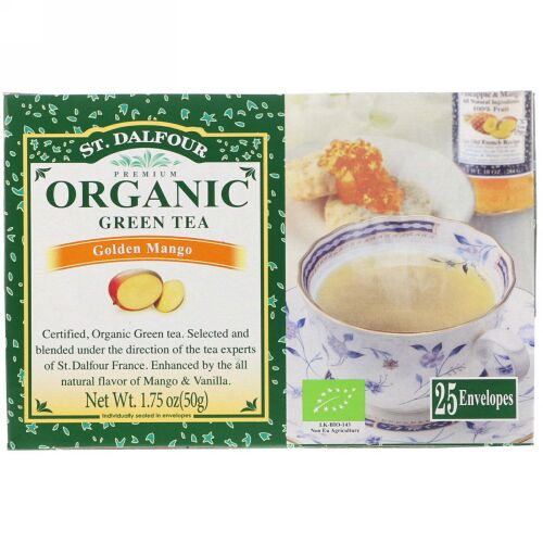 St. Dalfour, Organic, Green Tea, Golden Mango, 25 Envelopes, 1.75 oz (50 g) (Discontinued Item)