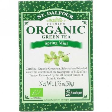 St. Dalfour, Organic Green Tea, Spring Mint, 25 Envelopes, 1.75 oz (50 g) (Discontinued Item)
