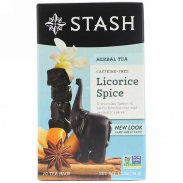 Stash Tea, プレミアム, ハーブティー, リコリス(甘草)スパイス, カフェインフリー, 20ティーバッグ, 1.2オンス(36 g)