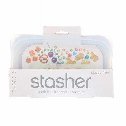 Stasher, 再利用可能シリコン製食品バッグ、スナックサイズ小、透明、容量9.9液量オンス(293.5ml)