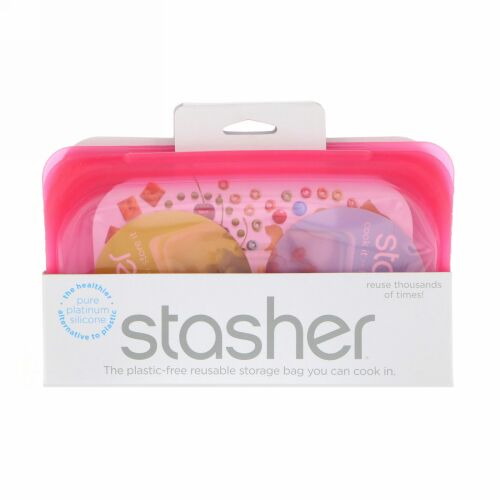 Stasher, 再利用可能シリコン製食品バッグ、スナックサイズ小、ラズベリー、容量9.9液量オンス(293.5ml)