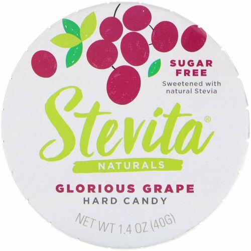 Stevita, ナチュラルズ、無糖ハードキャンディー、グロリアスグレープ、1.4オンス(40 g)