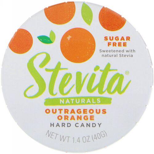 Stevita, ナチュラルズ、無糖ハードキャンディー、アウトレイジャスオレンジ、1.4オンス (40 g)