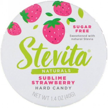 Stevita, ナチュラルズ、無糖ハードキャンディー、サブライムストロベリー、1.4オンス (40 g)