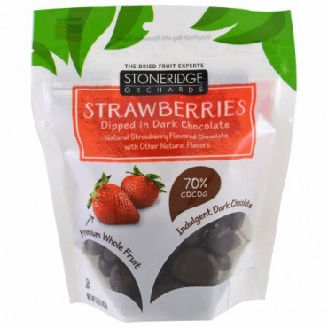 Stoneridge Orchards, ストロベリー、ダークチョコレート漬け、カカオ70%、142g(5オンス)