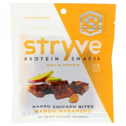 Stryve Foods, プロテインスナック・ベイクドチキンバイツ、マンゴーハバネロ、2.5 oz (70 g) (Discontinued Item)