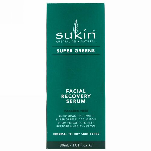 Sukin, スーパーグリーン、フェイシャルリカバリーセラム、1.01液量オンス (30 ml)