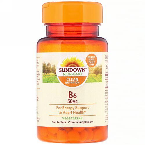 Sundown Naturals, B6、50mg、糖衣150錠 (Discontinued Item)