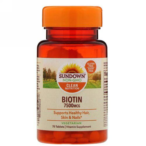 Sundown Naturals, Biotin, 7,500 mcg, 75 Tablets (Discontinued Item)