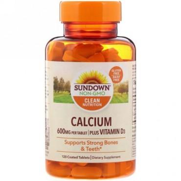 Sundown Naturals, カルシウム、プラスビタミンD3 、600mg、糖衣タブレット120錠 (Discontinued Item)