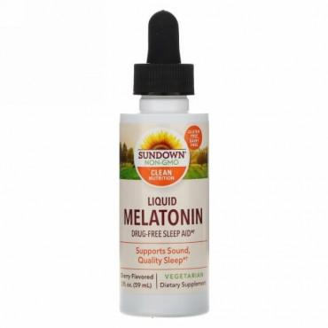 Sundown Naturals, リキッド メラトニン、チェリーフレーバー、2 fl oz (59 ml)