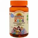 Sundown Naturals Kids, コンプリートマルチビタミングミ、ディズニープリンセス、グレープ・オレンジ・チェリー風味、60粒