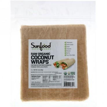Sunfood, 未加工オーガニックココナッツラップ、7枚、126g(4.4oz)