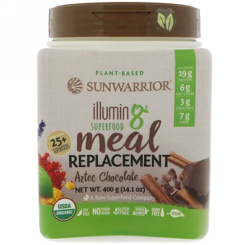 Sunwarrior, Illumin8、植物由来オーガニックスーパーフード・ミールリプレースメント(食事代替品)、アステカチョコレート、14.1 oz (400 g) (Discontinued Item)