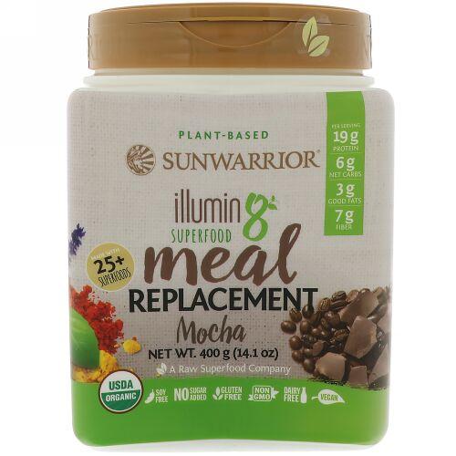 Sunwarrior, Illumin8、植物由来オーガニックスーパーフード・ミールリプレースメント(食事代替品)、モカ、14.1 oz (400 g) (Discontinued Item)