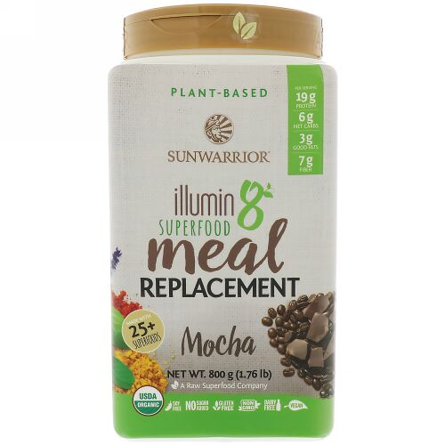 Sunwarrior, Illumin 8, Plant-Based Organic Superfood Meal Replacement, Mocha, 800 g (1.76 lbs) (Discontinued Item)