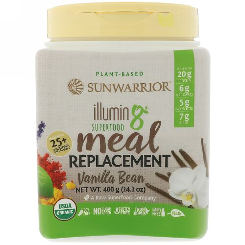 Sunwarrior, Illumin8、植物由来オーガニックスーパーフード・ミールリプレースメント(食事代替品)、バニラビーンズ、14.1 oz (400 g) (Discontinued Item)