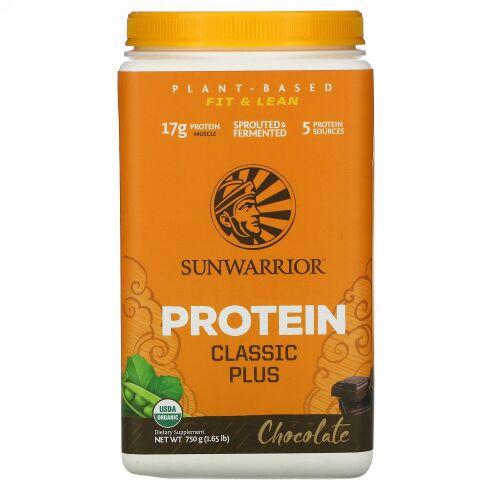 Sunwarrior, Protein Classic Plus , Plant Based, Chocolate, 1.65 lb (750 g)