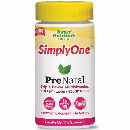 Super Nutrition, SimplyOne、プリネータル、トリプルパワー・マルチビタミン、90錠