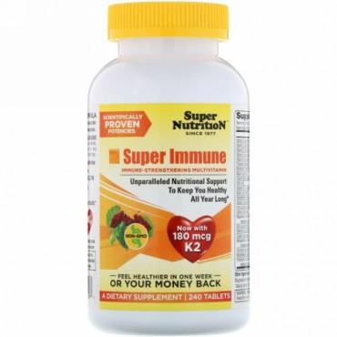 Super Nutrition, スーパー 免疫、 免疫強化 マルチビタミン、 240タブレット