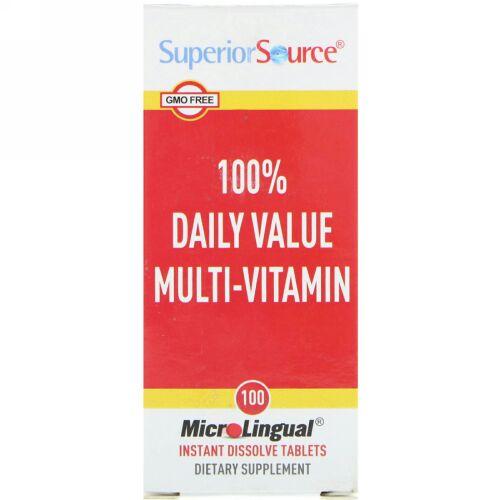 Superior Source, 1日適正摂取量の100% マルチビタミン, マイクロリンガル 即溶性錠剤 100錠 (Discontinued Item)