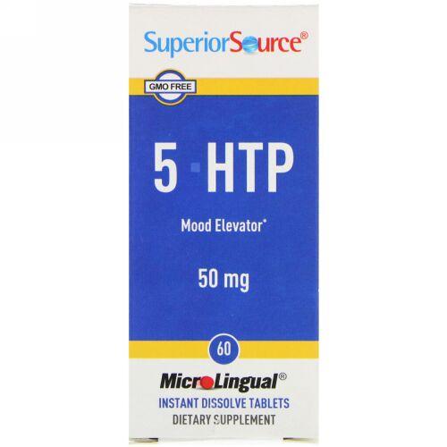 Superior Source, 5-HTP、50 mg、 MicroLingual 速溶性錠剤60錠
