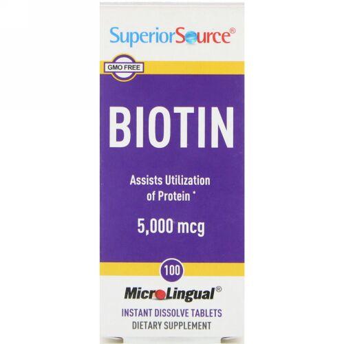 Superior Source, Biotin, 5,000 mcg, 100 Tablets (Discontinued Item)