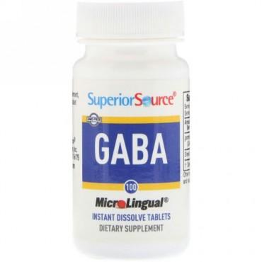 Superior Source, GABA, 100 mg, マイクロリンガル® さっと溶ける錠剤 100 錠