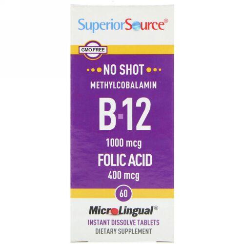 Superior Source, B-12 メチルコバラミンと葉酸, 1000 mcg/400 mcg, マイクロリンガル即溶性錠剤 60錠 (Discontinued Item)