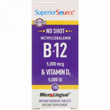 Superior Source, Methylcobalamin B-12 & Vitamin D3, 100 Tablets (Discontinued Item)
