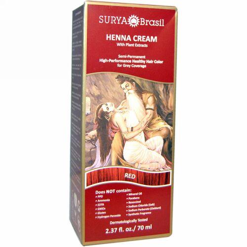 Surya Brasil, ヘナクリーム、 ヘア カラー& コンディショナー トリートメント、 レッド、 2.37 fl oz (70 ml) (Discontinued Item)