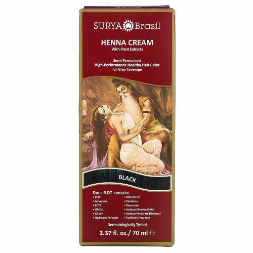 Surya Brasil, ヘナクリーム、ヘアカラー&コンディショナー、ブラック、2.37 fl oz (70 ml)