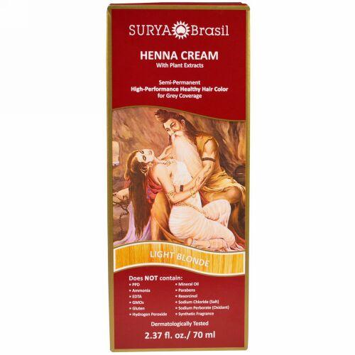 Surya Brasil, ヘナクリーム、 ハイパフォーマンス・ヘルシー白髪染めヘアカラー、 ライトブロンド、  2.37 液量オンス (70 ml) (Discontinued Item)