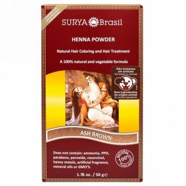 Surya Brasil, Henna Brazil, Natural Hair Coloring and Hair Treatment Powder, Ash Brown, 1.76 oz (50 g) (Discontinued Item)