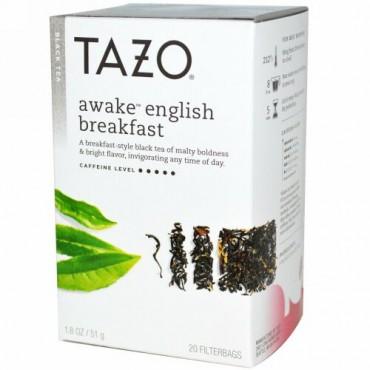 Tazo Teas, アウェイク イングリッシュブレックファースト, ブラックティー, 20 フィルターバッグ, 1.8 oz (51 g) (Discontinued Item)