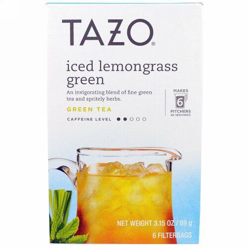 Tazo Teas, アイスレモングラス・グリーンティー、フィルターバッグ6個、3.15オンス(89 g) (Discontinued Item)