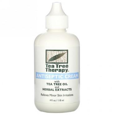 Tea Tree Therapy, アンティセプティッククリーム、 ティーツリーオイルとハーブエキス入り、 4液量オンス (118 ml)
