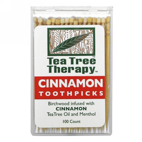 Tea Tree Therapy, シナモン トゥースピックス(楊枝), およそ100