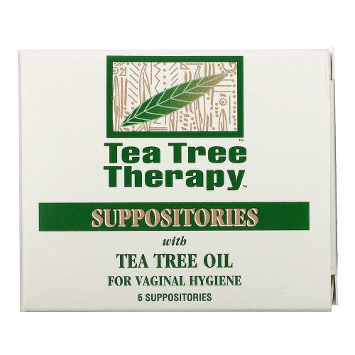 Tea Tree Therapy, 座薬, ティーツリーオイル配合, 膣の衛生用, 6錠
