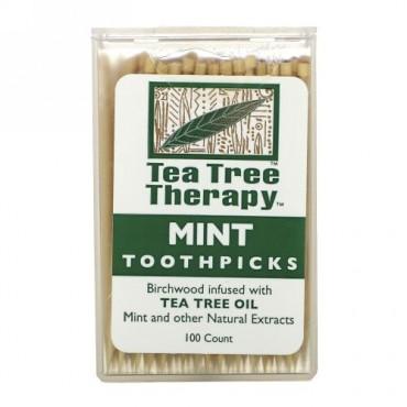 Tea Tree Therapy, ティーツリー治療用つまようじ、ミント、約100本
