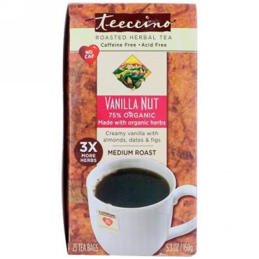 Teeccino, ハーブコーヒー、ミディアムロースト、バニラナッツ、カフェインフリー、ティーバッグ25個、150g(5.3オンス)