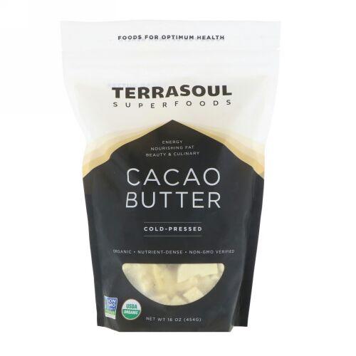 Terrasoul Superfoods, カカオバター、コールドプレス、16オンス (454 g) (Discontinued Item)