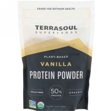 Terrasoul Superfoods, 植物由来プロテインパウダー、バニラ、12 oz (340 g) (Discontinued Item)